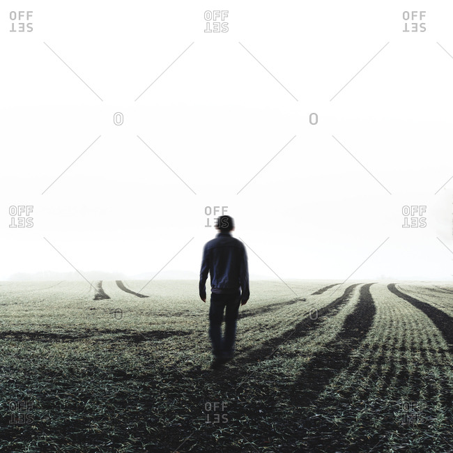 Moving man on field- composite