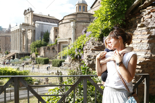 Italy- Rome- mother and little daughter on city break