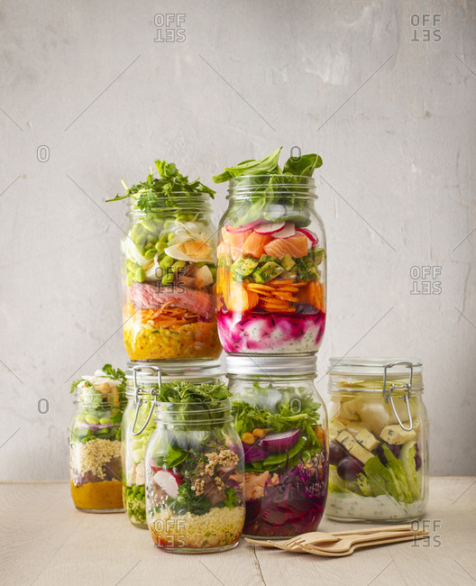 Preserving jars with various salads