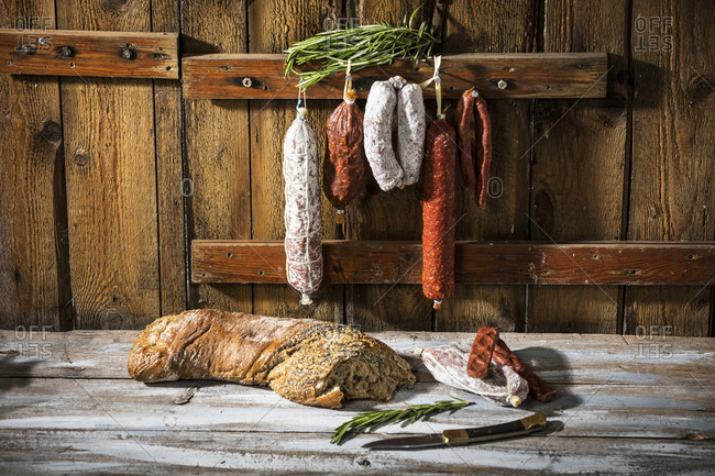 Various sorts of salami and hard smoked sausages