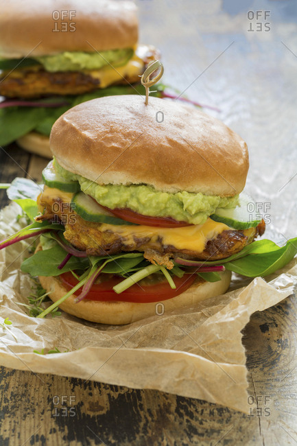 Veggie burger with sweet potato patties- avocado dip- cheese and vegetables