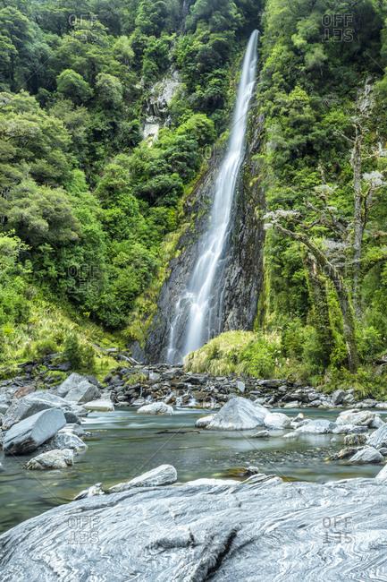 New Zealand- South Island- Thunder Creek Falls at Haast river
