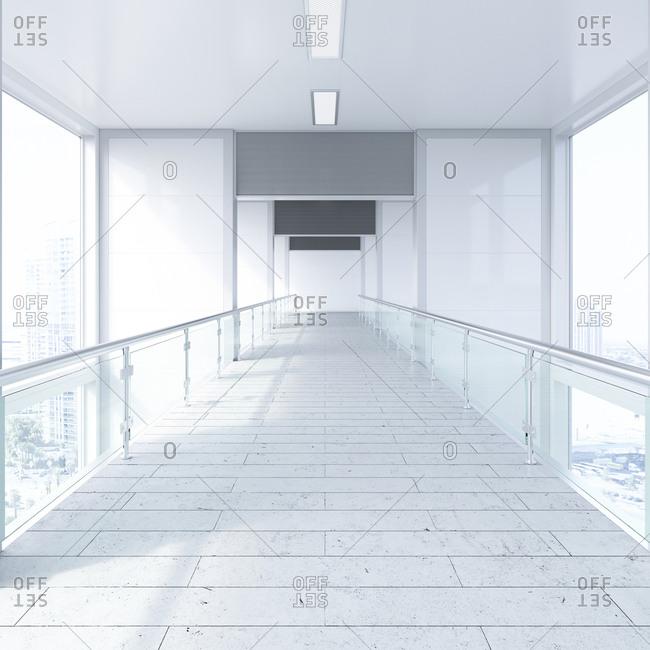 Empty passageway in a modern office building- 3D Rendering
