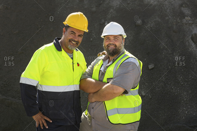 Portrait of two quarry workers