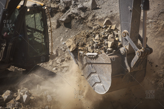 Digger working in quarry- close up