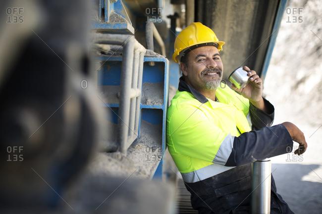 Quarry worker taking a break