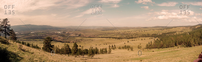 Sukbataar, Selenge, Mongolia - September 3, 2015: Panorama of the Mongolia - Russia Border near Sukbaatar, Selenge, Mongolia