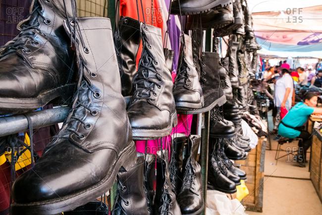 Ulan Baatar, Mongolia - August 21, 2015: Boots for sale - Narantuul Market in Ulaan Baatar, Mongolia