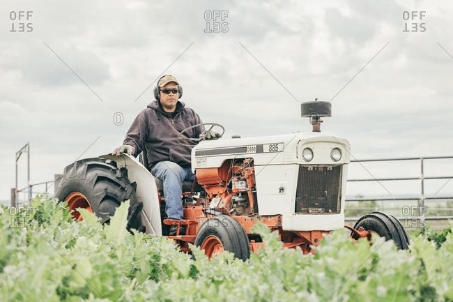 Umatilla Reservation, Pendleton, Oregon - May 17, 2017: Man driving a tractor on the Umatilla Reservation in Oregon