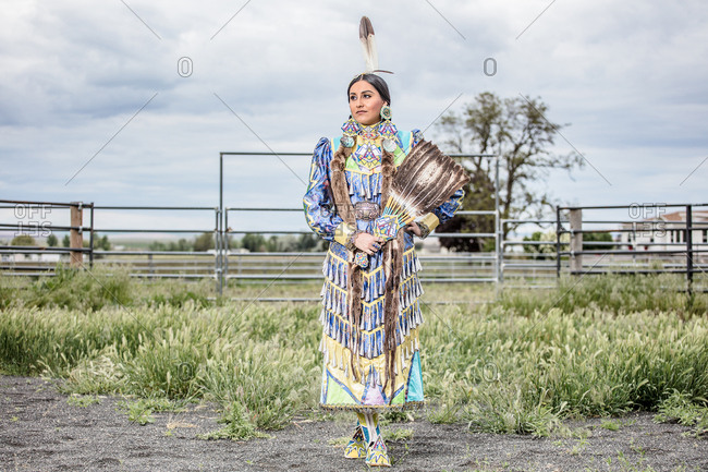 Umatilla Reservation, Pendleton, Oregon - May 17, 2017: Native American girl dressed in regalia on the Umatilla Reservation in Oregon