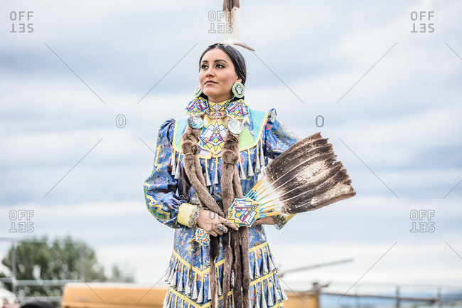 Umatilla Reservation, Pendleton, Oregon - May 17, 2017: Young Native American woman dressed in regalia on the Umatilla Reservation in Oregon