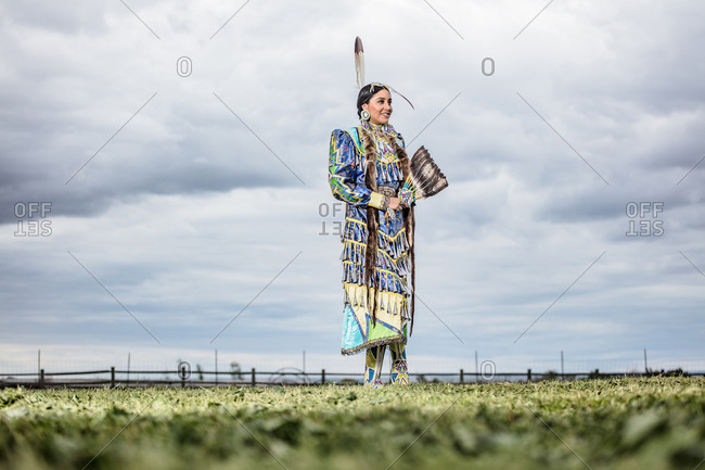 Umatilla Reservation, Pendleton, Oregon - May 17, 2017: Native American young woman dressed in regalia on the Umatilla Reservation in Oregon