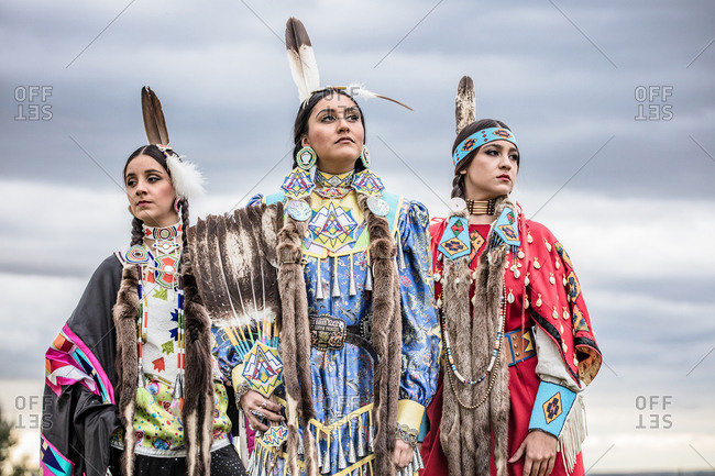 Umatilla Reservation, Pendleton, Oregon - May 17, 2017: Native American sisters dressed in regalia on the Umatilla Reservation in Oregon