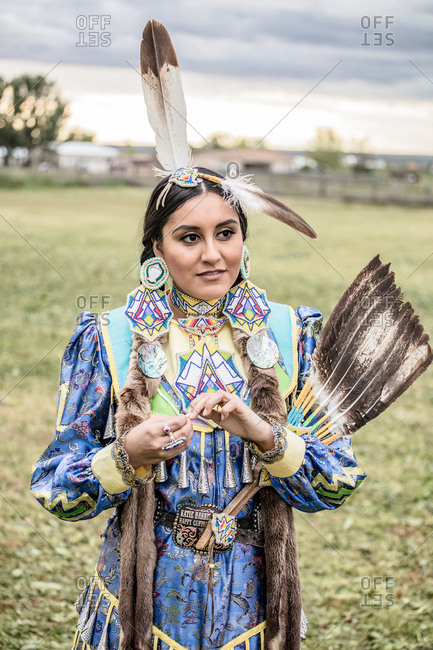 Umatilla Reservation, Pendleton, Oregon - May 17, 2017: Native American young woman in regalia on the Umatilla Reservation in Oregon