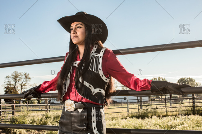 Umatilla Reservation, Pendleton, Oregon - May 18, 2017: Girl dressed in cow girl attire on a Native American Reservation