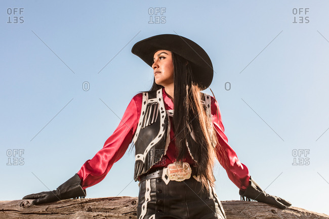 Umatilla Reservation, Pendleton, Oregon - May 18, 2017: Young woman dressed in cow girl attire on a Native American Reservation