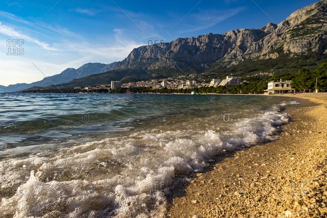 Makarska, Croatia - May 29, 2017: Beach landscape in Makarska Croatia Europe