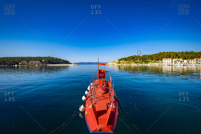 Submarine for tourist in the port of the city, Makarska, Croatia