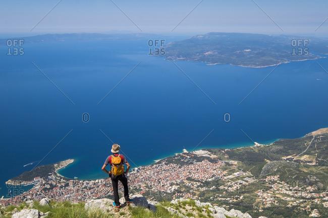 View of Makarska and Brac Island from Biokovo National Park in Croatia Europe