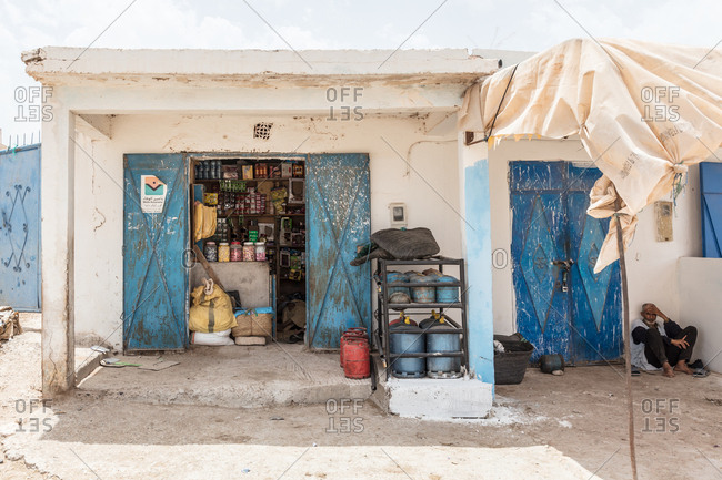 Morocco - June 18, 2017: Shop selling basic goods