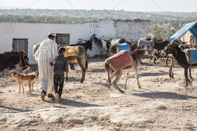 People and donkeys in Moroccan village