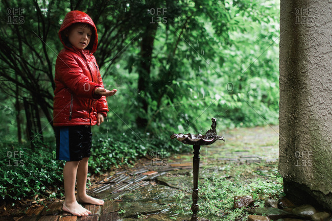Boy in red coat watching rain fall into birdfeeder