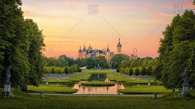Sunset over the gardens at Schwerin Palace, Germany