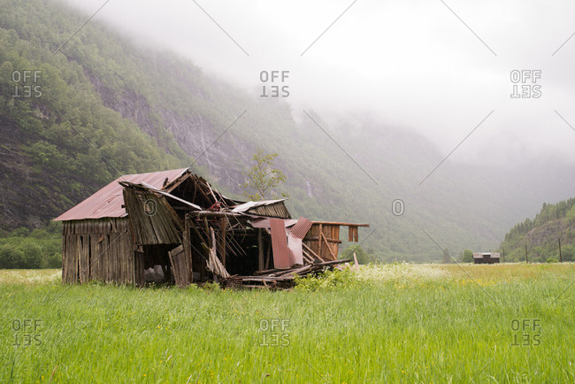 Abandoned building remains in the Norwegian countryside