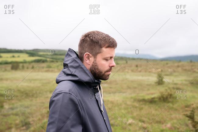 Portrait of man walking in the Norwegian countryside