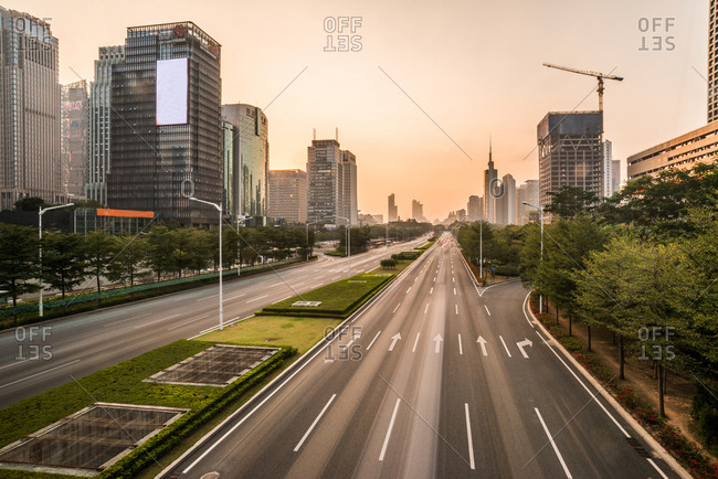 Shenzhen, China   - November 20, 2014: Skyscrapers and development along the highway in Shenzhen