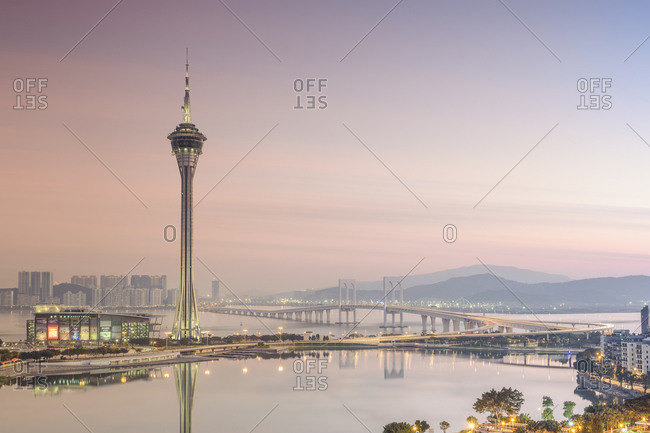 Se, Macau, China - December 20, 2014: Macau Tower at dusk