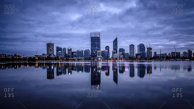 Pewsey, Australia - September 30, 2014: Reflection of Perth's modern skyline