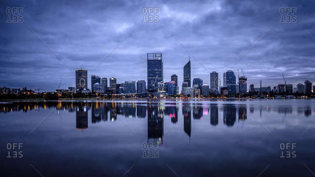 Pewsey, Australia - September 30, 2014: Reflection of Perth's modern skyline