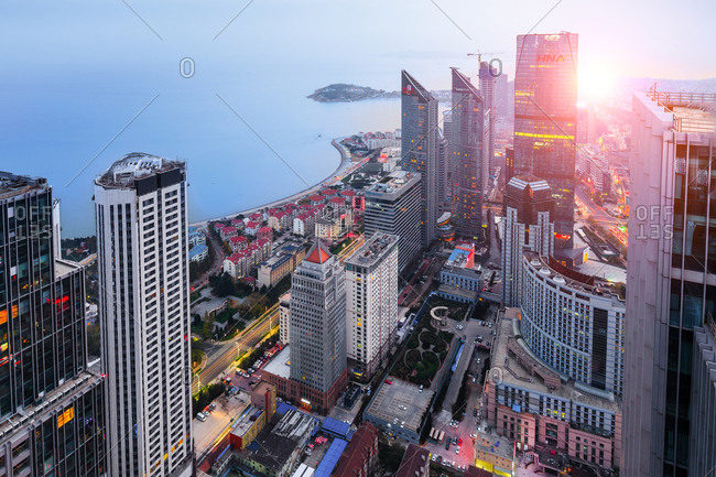 Qingdao, China - August 14, 2011: Skyscrapers in the Central Business District
