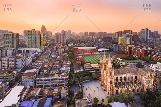 Guangzhou, China - December 14, 2012: The Sacred Heart Cathedral at dusk