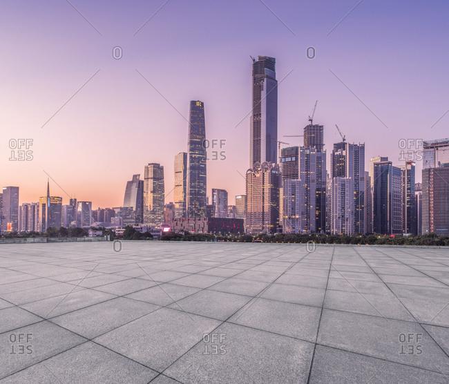 Guangzhou, China - December 17, 2014: An empty terrace across from Guangzhou at night