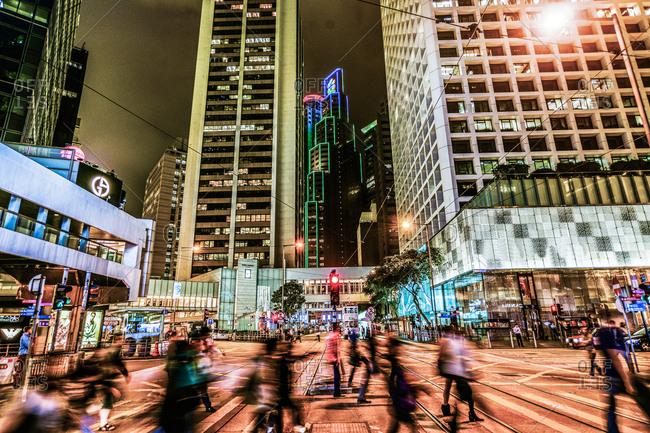 Hong Kong, China - November 14, 2014: Night shopping at dusk