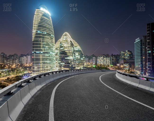 Beijing, China - September 24, 2014: Wangjing SOHO at night