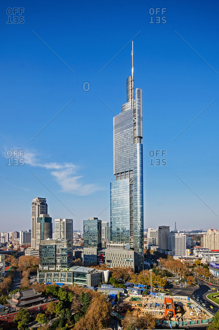Nanjing, China - December 13, 2014: Zifeng Tower on a clear day