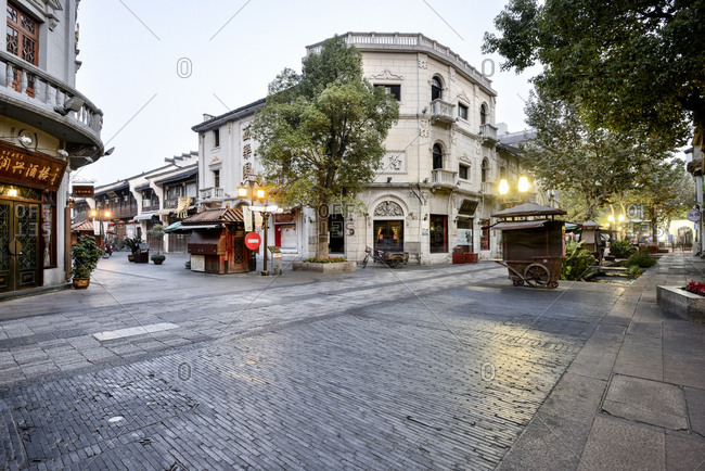 Hangzhou, China - July 13, 2011: Cobbled streets in the ancient town