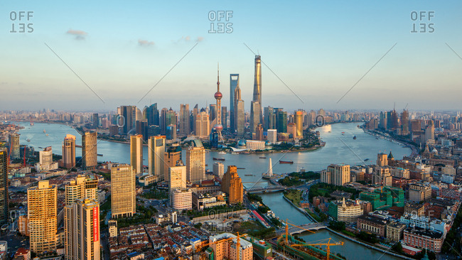 Shanghai, China - April 14, 2010: The cityscape on a bright day