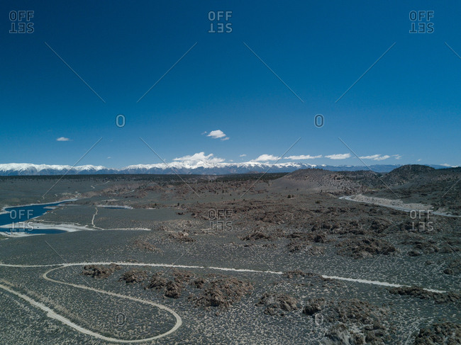 Bird's eye view of remote landscape