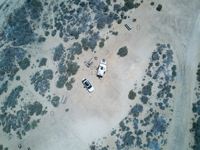 Campsite from bird's eye view