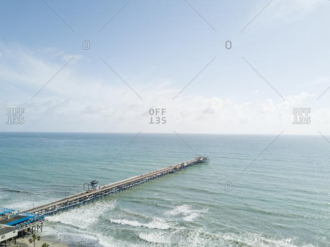 Pier on sea in bird's eye view