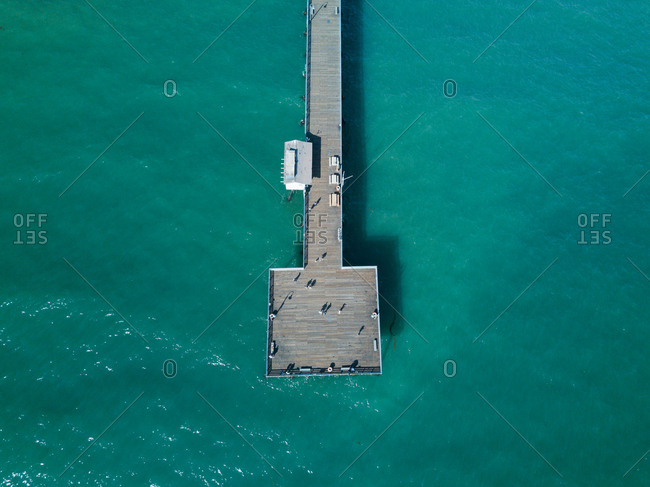 End of a pier from above