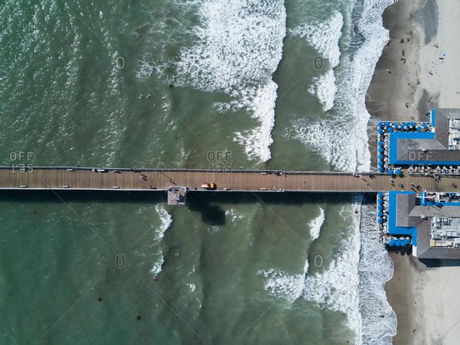 A pier over a beach