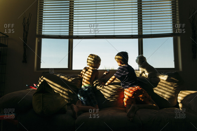 Children and dog sitting on couch looking out window