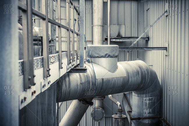 Yorkshire, England, UK - October 29, 2012: Pipes through an industrial setting