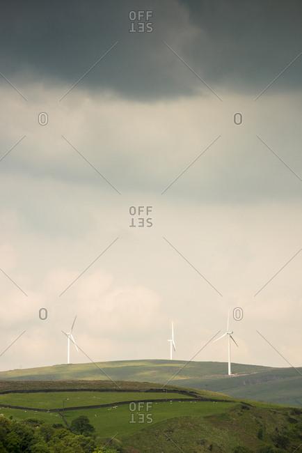 Wind turbines among rolling hills