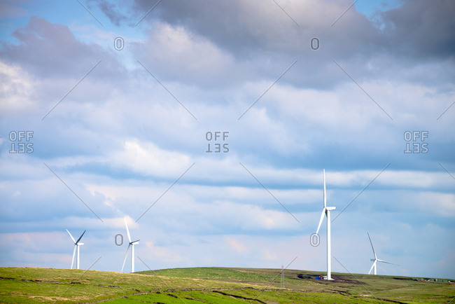 Wind turbines in rural field